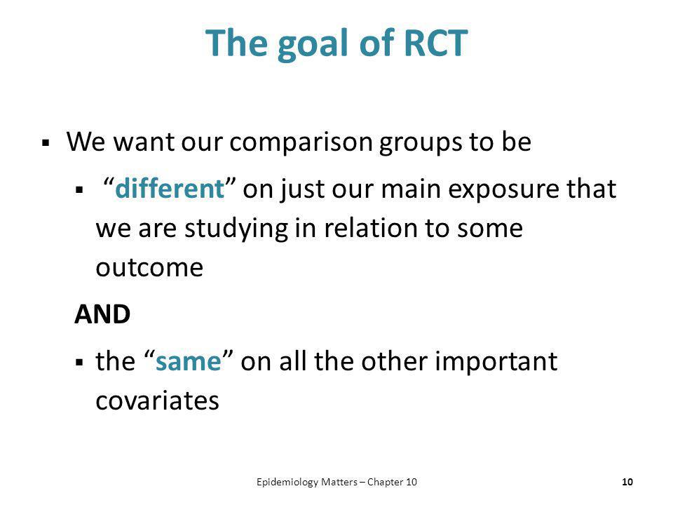 """The goal of RCT  We want our comparison groups to be  """"different"""" on just our main exposure that we are studying in relation to some outcome AND  t"""