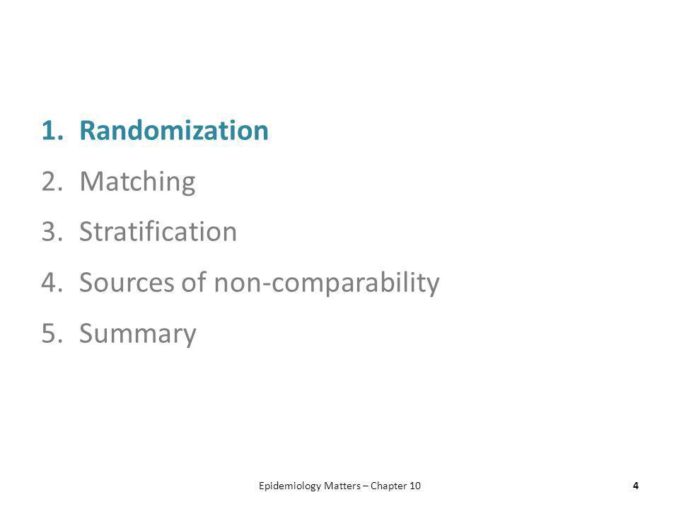 1.Randomization 2.Matching 3.Stratification 4.Sources of non-comparability 5.Summary Epidemiology Matters – Chapter 104