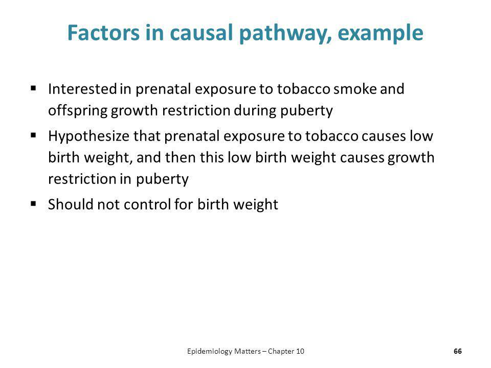 Factors in causal pathway, example  Interested in prenatal exposure to tobacco smoke and offspring growth restriction during puberty  Hypothesize th