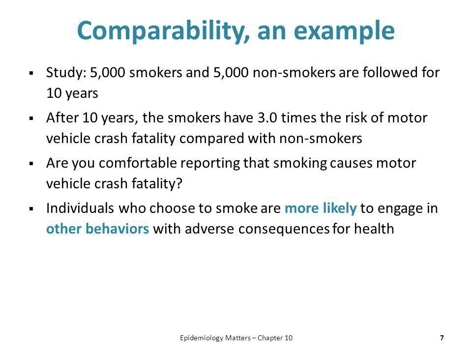 Comparability, an example  Study: 5,000 smokers and 5,000 non-smokers are followed for 10 years  After 10 years, the smokers have 3.0 times the risk
