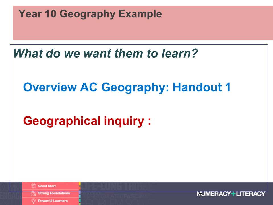 Faculty of Edit this on the Slide MasterThe University of Adelaide Year 10 Geography Example What do we want them to learn? Overview AC Geography: Han