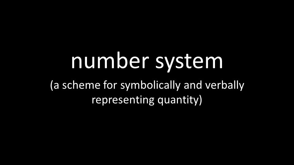 number system (a scheme for symbolically and verbally representing quantity)