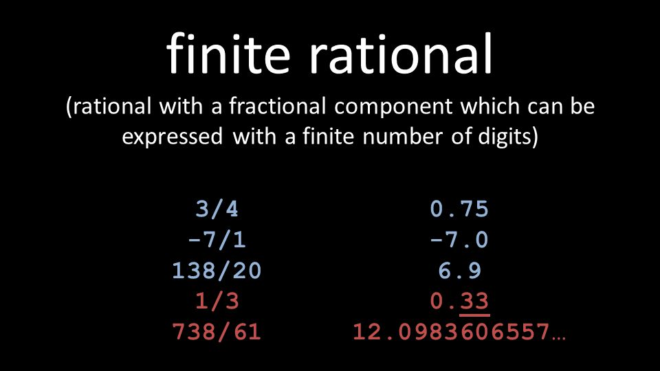 finite rational (rational with a fractional component which can be expressed with a finite number of digits) 3/4 -7/1 138/20 1/3 738/61 0.75 -7.0 6.9 0.33 12.0983606557…