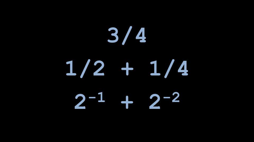 1/2 + 1/4 2 -1 + 2 -2