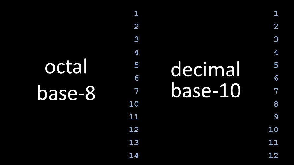 1 2 3 4 5 6 7 10 11 12 13 14 1 2 3 4 5 6 7 8 9 10 11 12 octal base-8 decimal base-10