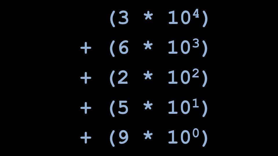 (3 * 10 4 ) + (6 * 10 3 ) + (2 * 10 2 ) + (5 * 10 1 ) + (9 * 10 0 )