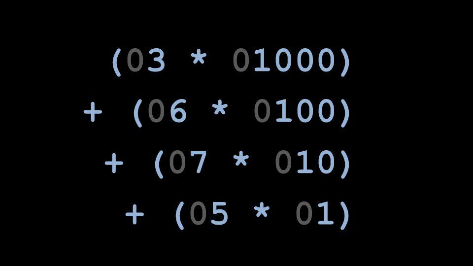 (03 * 01000) + (06 * 0100) + (07 * 010) + (05 * 01)