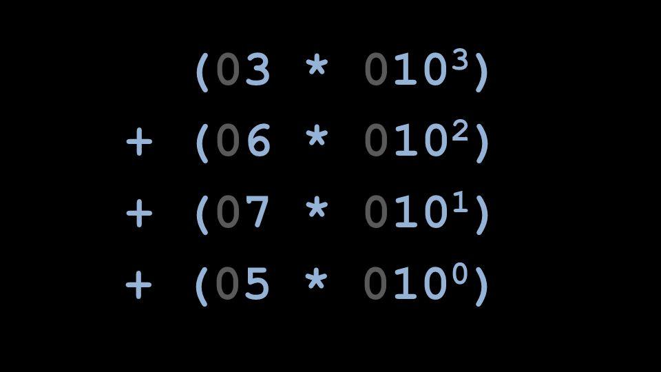 (03 * 010 3 ) + (06 * 010 2 ) + (07 * 010 1 ) + (05 * 010 0 )