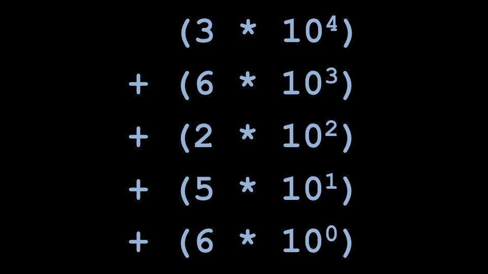 (3 * 10 4 ) + (6 * 10 3 ) + (2 * 10 2 ) + (5 * 10 1 ) + (6 * 10 0 )