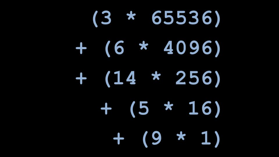 (3 * 65536) + (6 * 4096) + (14 * 256) + (5 * 16) + (9 * 1)
