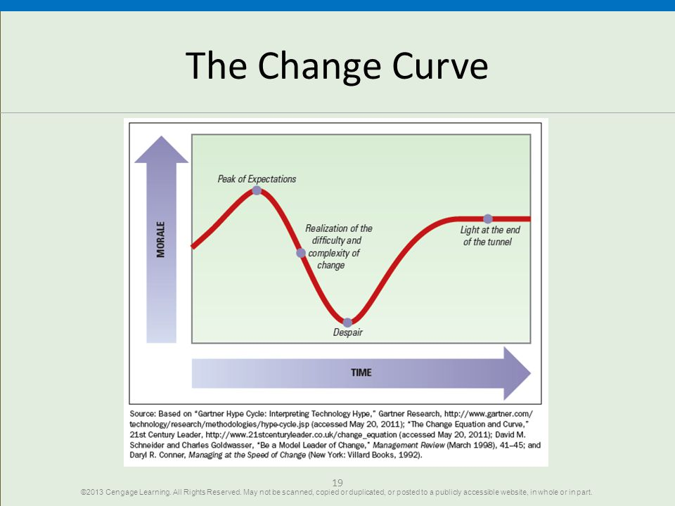 19 The Change Curve ©2013 Cengage Learning.All Rights Reserved.