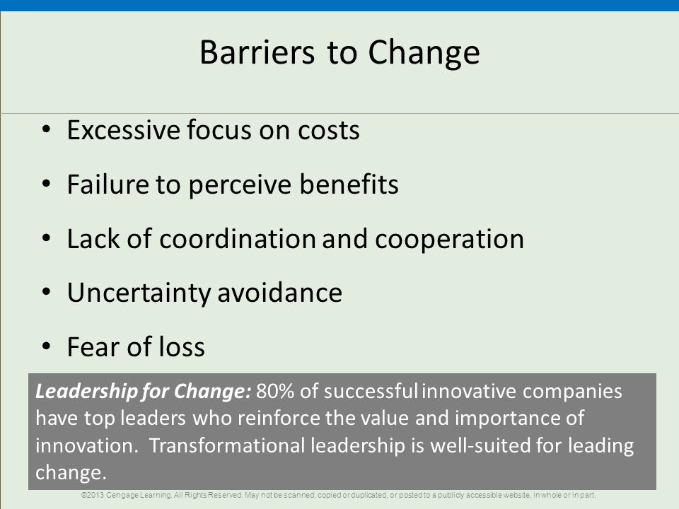 20 Barriers to Change Excessive focus on costs Failure to perceive benefits Lack of coordination and cooperation Uncertainty avoidance Fear of loss Leadership for Change: 80% of successful innovative companies have top leaders who reinforce the value and importance of innovation.