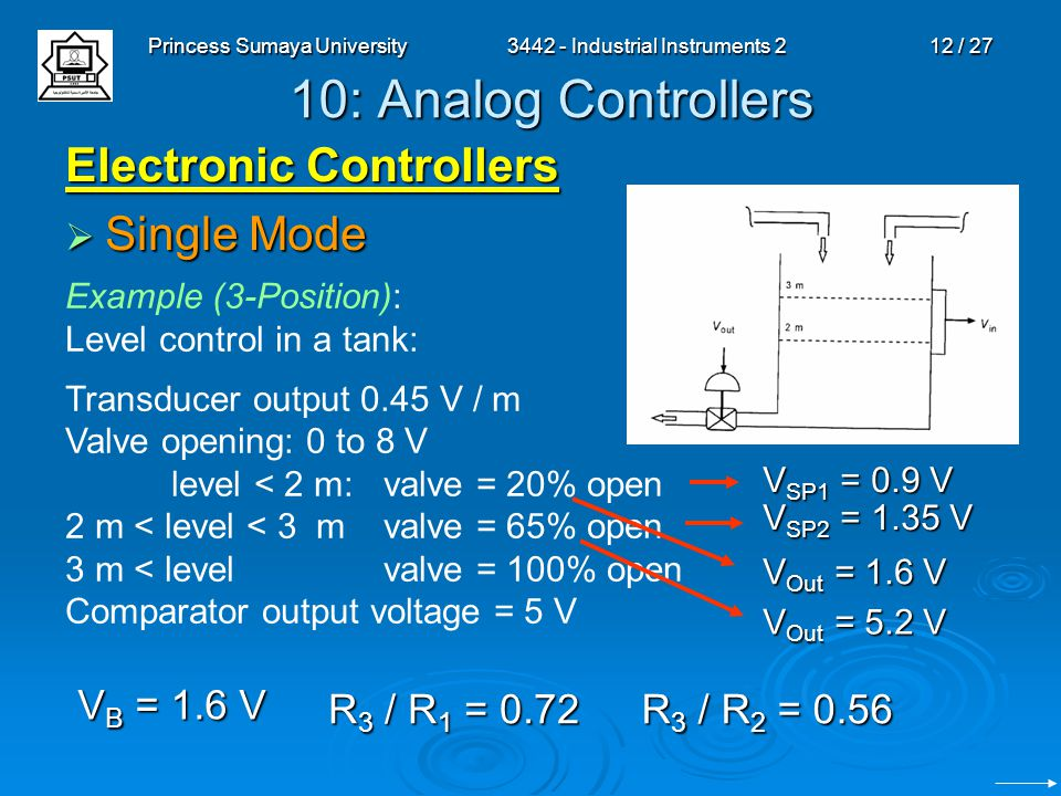 Princess Sumaya University3442 - Industrial Instruments 212 / 27 10: Analog Controllers Electronic Controllers  Single Mode Example (3-Position): Lev