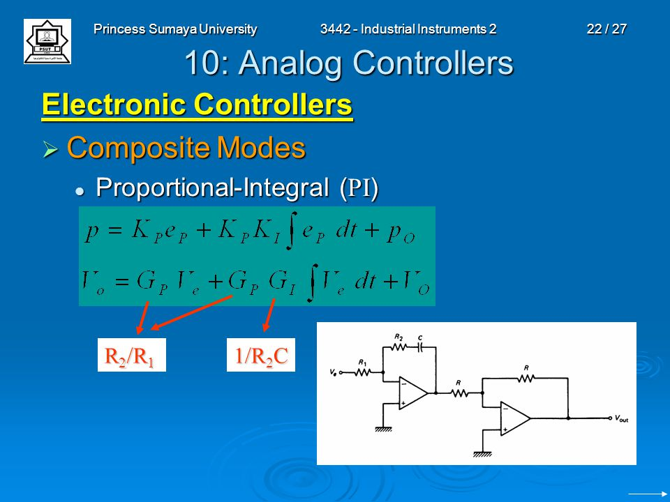 Princess Sumaya University3442 - Industrial Instruments 222 / 27 10: Analog Controllers Electronic Controllers  Composite Modes Proportional-Integral ( PI ) Proportional-Integral ( PI ) R 2 /R 1 1/R 2 C