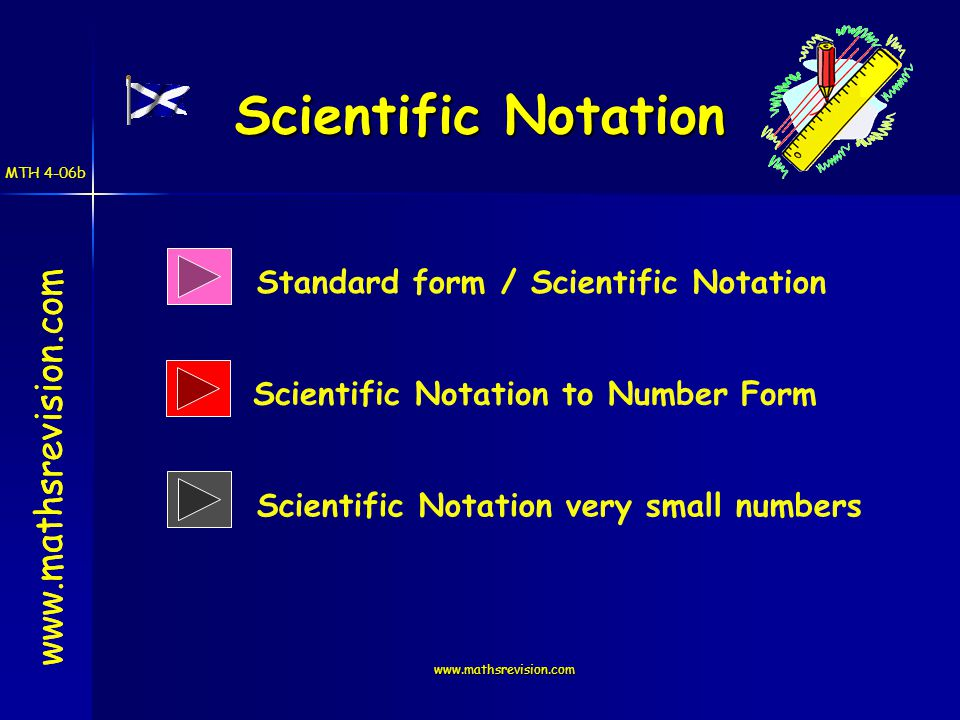 www.mathsrevision.com Scientific Notation www.mathsrevision.com Standard form / Scientific Notation Scientific Notation very small numbers Scientific Notation to Number Form MTH 4-06b