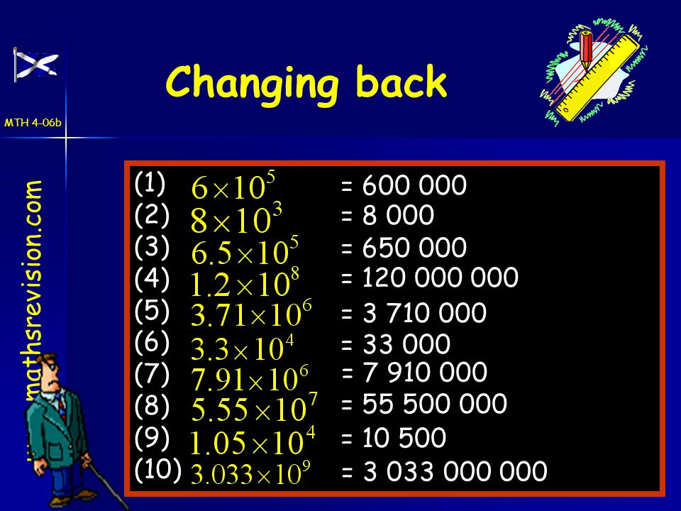www.mathsrevision.com Changing back (1) (2) (3) (4) (5) (6) (7) (8) (9) (10) = 600 000 = 8 000 = 650 000 = 120 000 000 = 3 710 000 = 33 000 = 7 910 000 = 55 500 000 = 10 500 = 3 033 000 000 MTH 4-06b