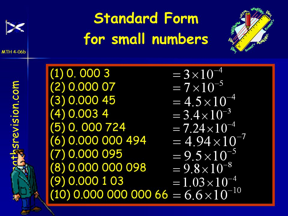 Standard Form for small numbers www.mathsrevision.com (1) 0.
