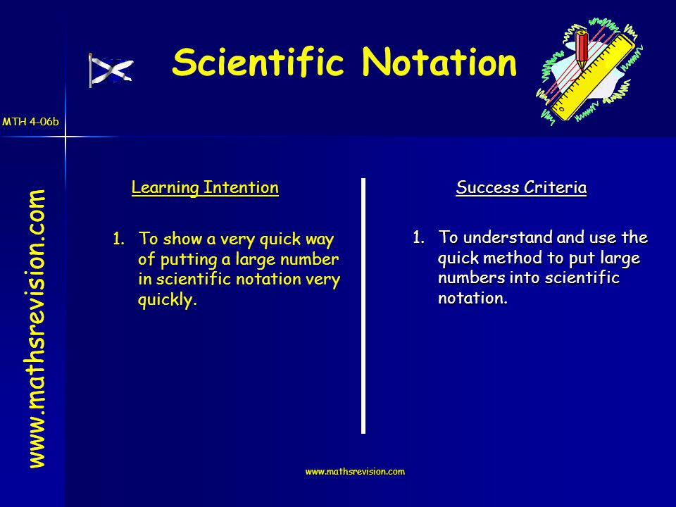 www.mathsrevision.com Learning Intention Success Criteria 1.To understand and use the quick method to put large numbers into scientific notation.
