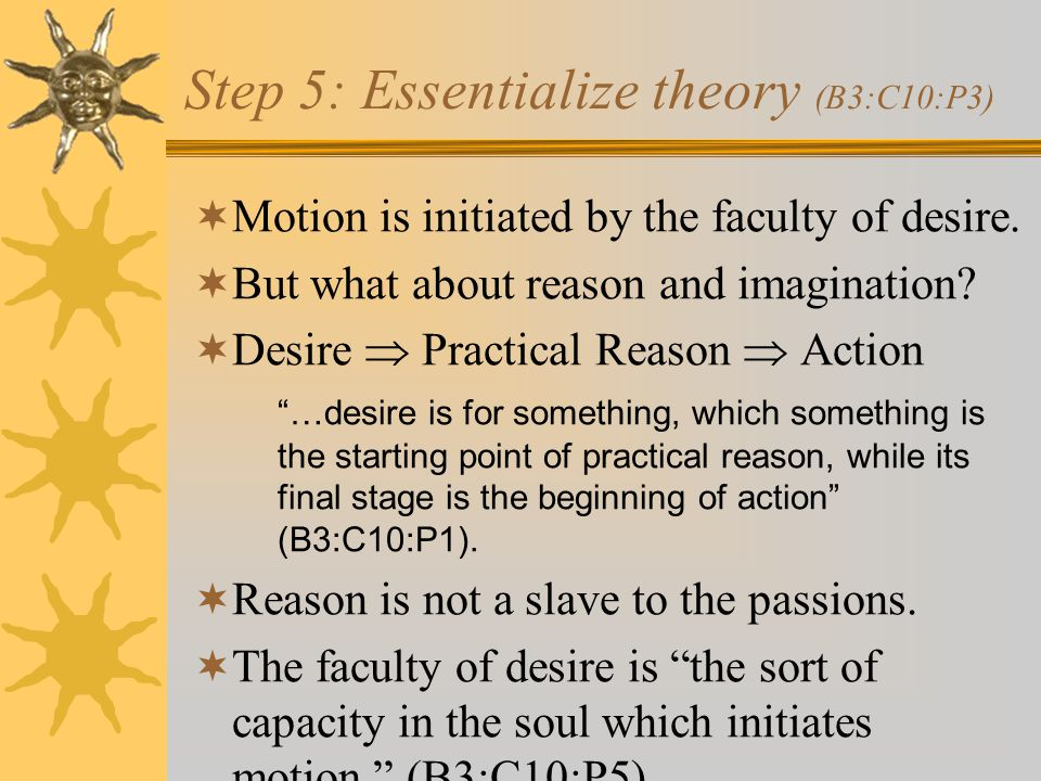 Step 5: Essentialize theory (B3:C10:P3)  Motion is initiated by the faculty of desire.