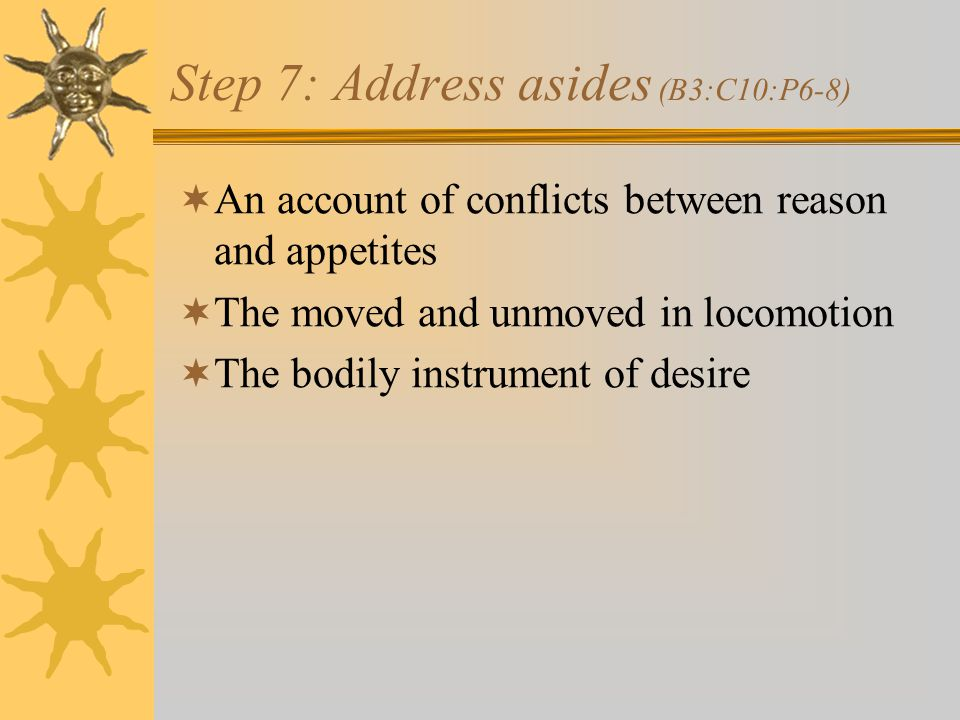 Step 7: Address asides (B3:C10:P6-8)  An account of conflicts between reason and appetites  The moved and unmoved in locomotion  The bodily instrument of desire