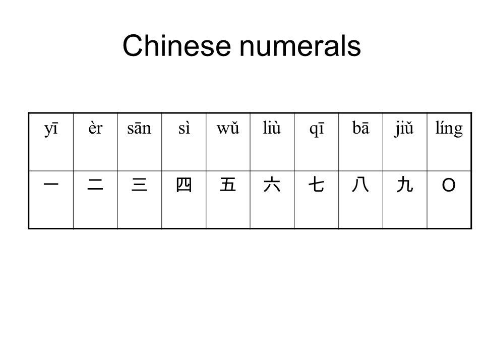 Chinese numerals yīèrsānsìwǔliùqībājiǔlíng 一二三四五六七八九 O