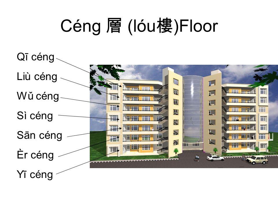 Céng 層 (lóu 樓 )Floor Qī céng Liù céng Wǔ céng Sì céng Sān céng Èr céng Yī céng