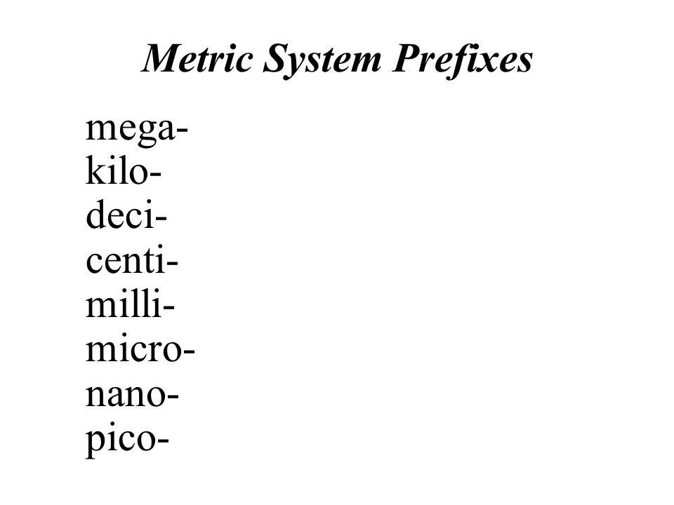 Metric System Prefixes Pico- The sizes of atoms are measured in picometers.