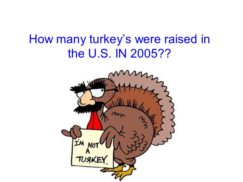 How many turkey's were raised in the U.S. IN 2005
