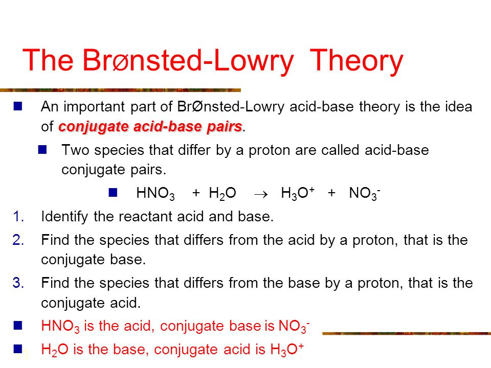 11 The Br Ø nsted-Lowry Theory conjugate acid-base pairs An important part of BrØnsted-Lowry acid-base theory is the idea of conjugate acid-base pairs