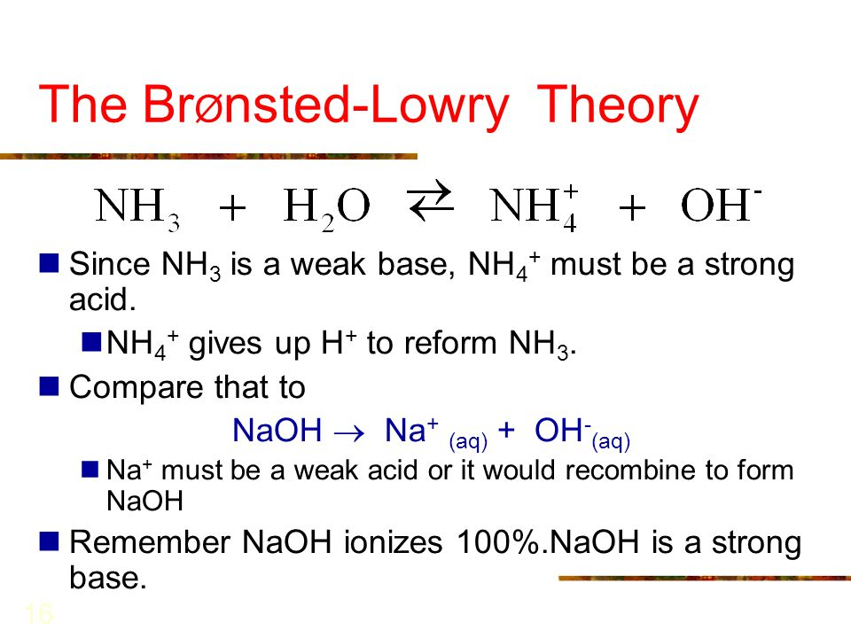 16 The Br Ø nsted-Lowry Theory Since NH 3 is a weak base, NH 4 + must be a strong acid. NH 4 + gives up H + to reform NH 3. Compare that to NaOH  Na