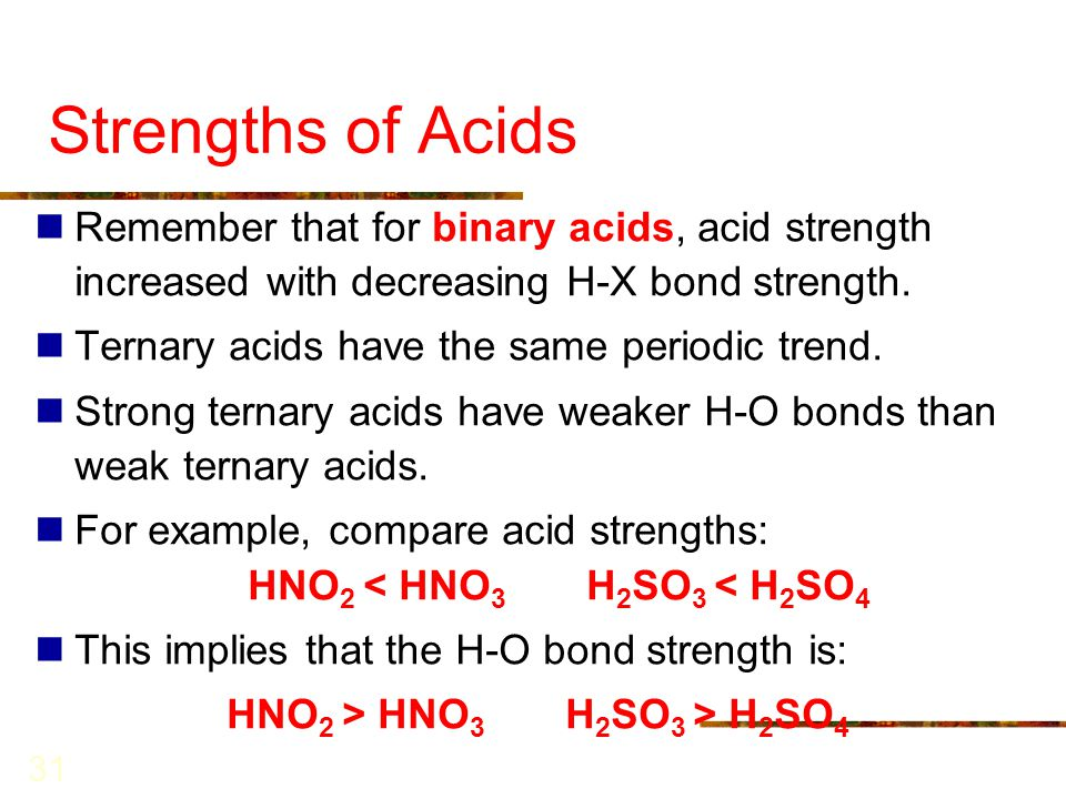 31 Strengths of Acids Remember that for binary acids, acid strength increased with decreasing H-X bond strength. Ternary acids have the same periodic