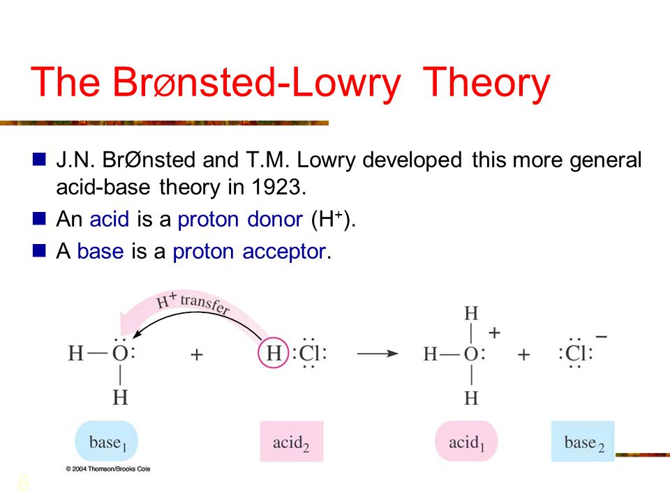 8 The Br Ø nsted-Lowry Theory J.N. BrØnsted and T.M. Lowry developed this more general acid-base theory in 1923. An acid is a proton donor (H + ). A b