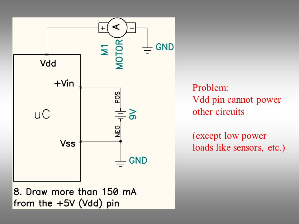 Problem: Vdd pin cannot power other circuits (except low power loads like sensors, etc.)