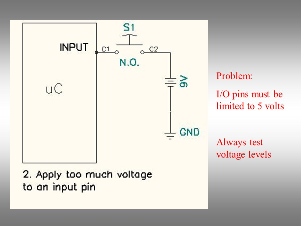 Problem: Output pin is driven high by program but low by switch Set up inputs & outputs before connecting them
