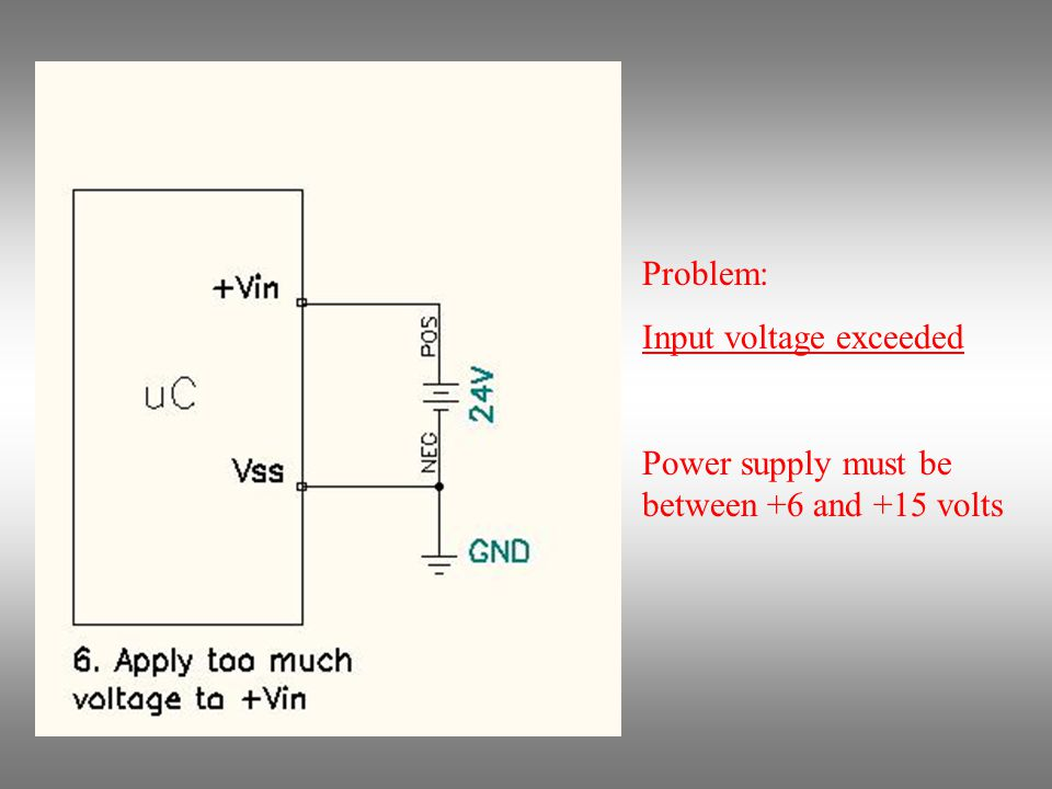 Problem: Input voltage exceeded Power supply must be between +6 and +15 volts
