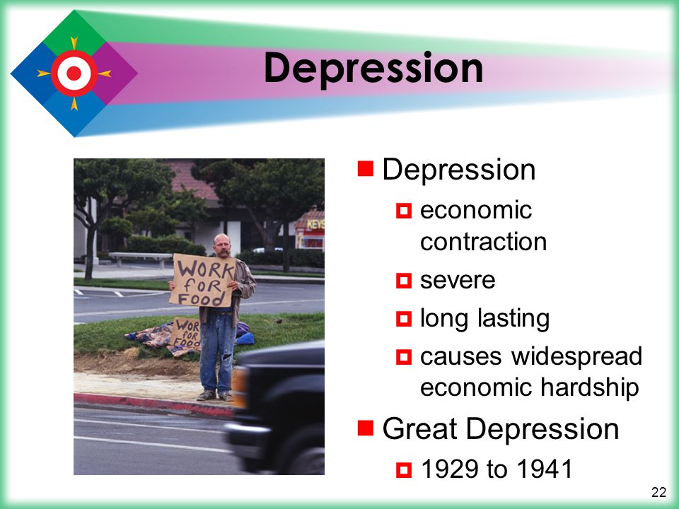 22 Depression  Depression  economic contraction  severe  long lasting  causes widespread economic hardship  Great Depression  1929 to 1941