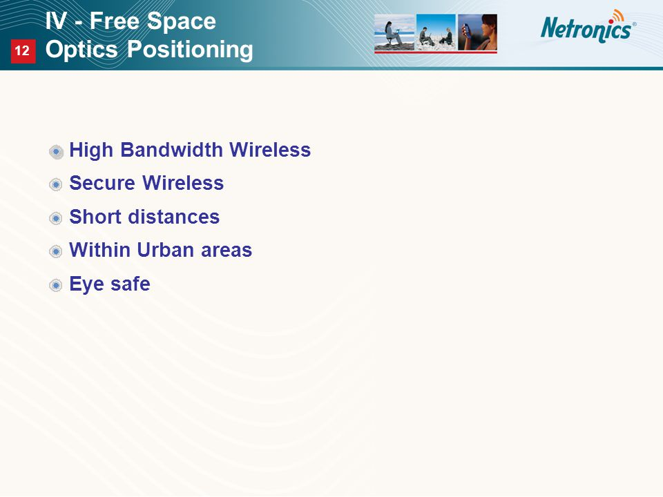 12 IV - Free Space Optics Positioning High Bandwidth Wireless Secure Wireless Short distances Within Urban areas Eye safe