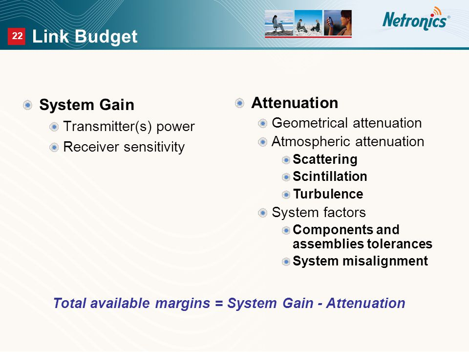 22 Link Budget System Gain Transmitter(s) power Receiver sensitivity Attenuation Geometrical attenuation Atmospheric attenuation Scattering Scintillation Turbulence System factors Components and assemblies tolerances System misalignment Total available margins = System Gain - Attenuation