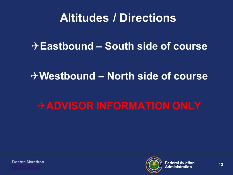Federal Aviation Administration 13 Boston Marathon March 10, 2011 Altitudes / Directions  Eastbound – South side of course  Westbound – North side of course  ADVISOR INFORMATION ONLY