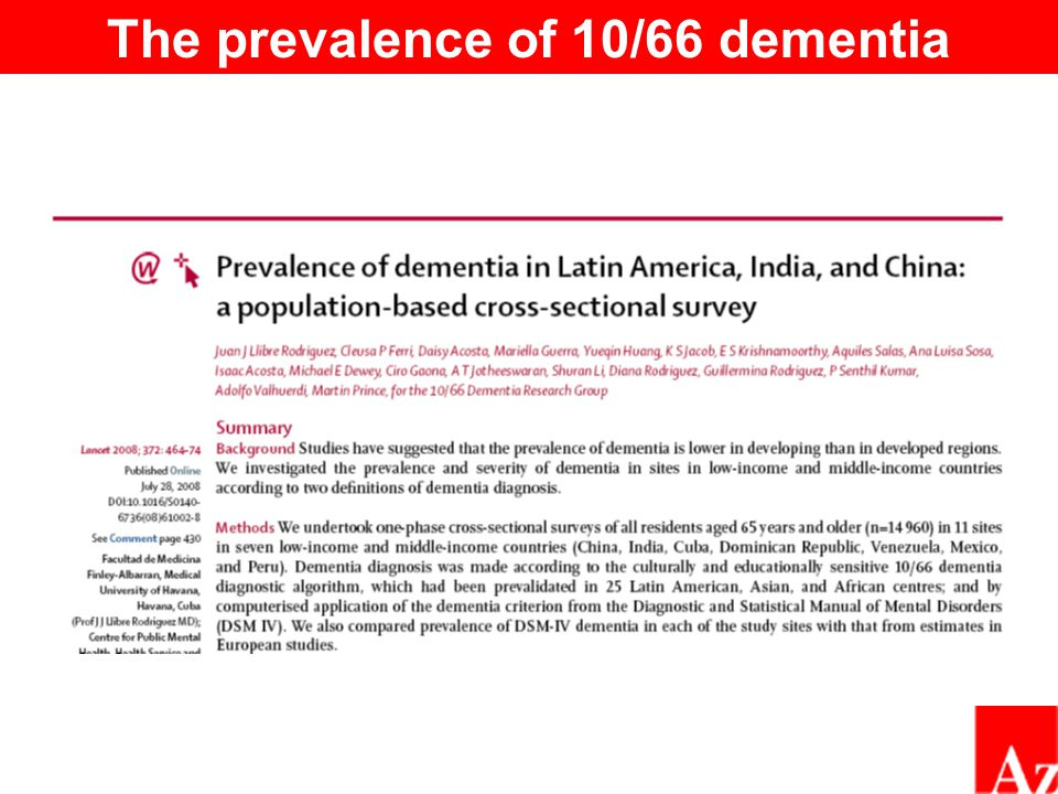 The prevalence of 10/66 dementia
