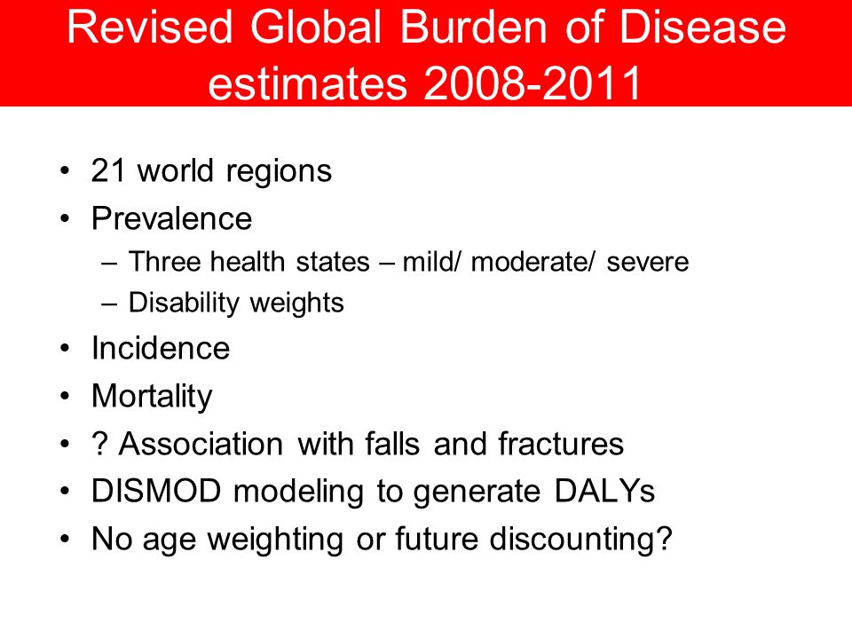 Revised Global Burden of Disease estimates 2008-2011 21 world regions Prevalence –Three health states – mild/ moderate/ severe –Disability weights Incidence Mortality .