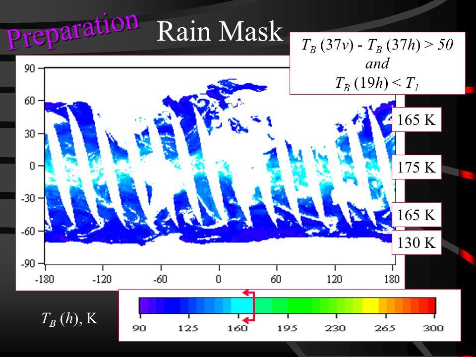 Rain Mask T B (h), K T B (37v) - T B (37h) > 50 and T B (19h) < T 1 130 K 165 K 175 K Preparation