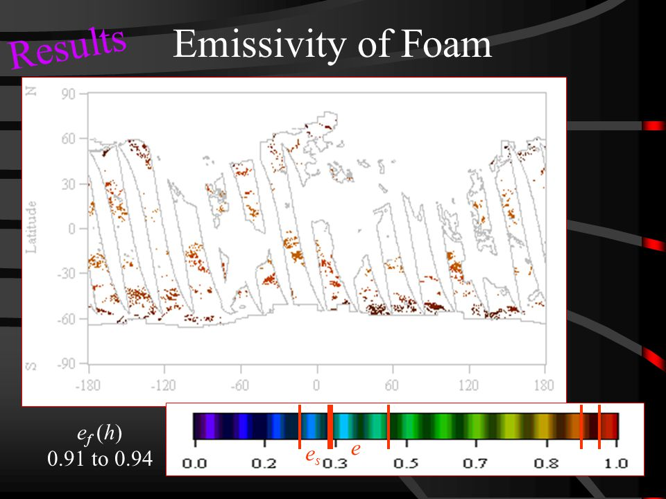 Emissivity of Foam e f (h) 0.91 to 0.94 e eses Results