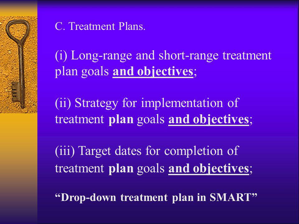 C. Treatment Plans. (i) Long-range and short-range treatment plan goals and objectives; (ii) Strategy for implementation of treatment plan goals and o