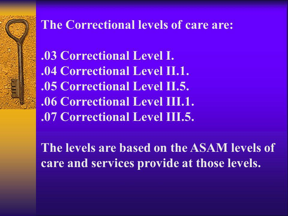 The Correctional levels of care are:.03 Correctional Level I..04 Correctional Level II.1..05 Correctional Level II.5..06 Correctional Level III.1..07