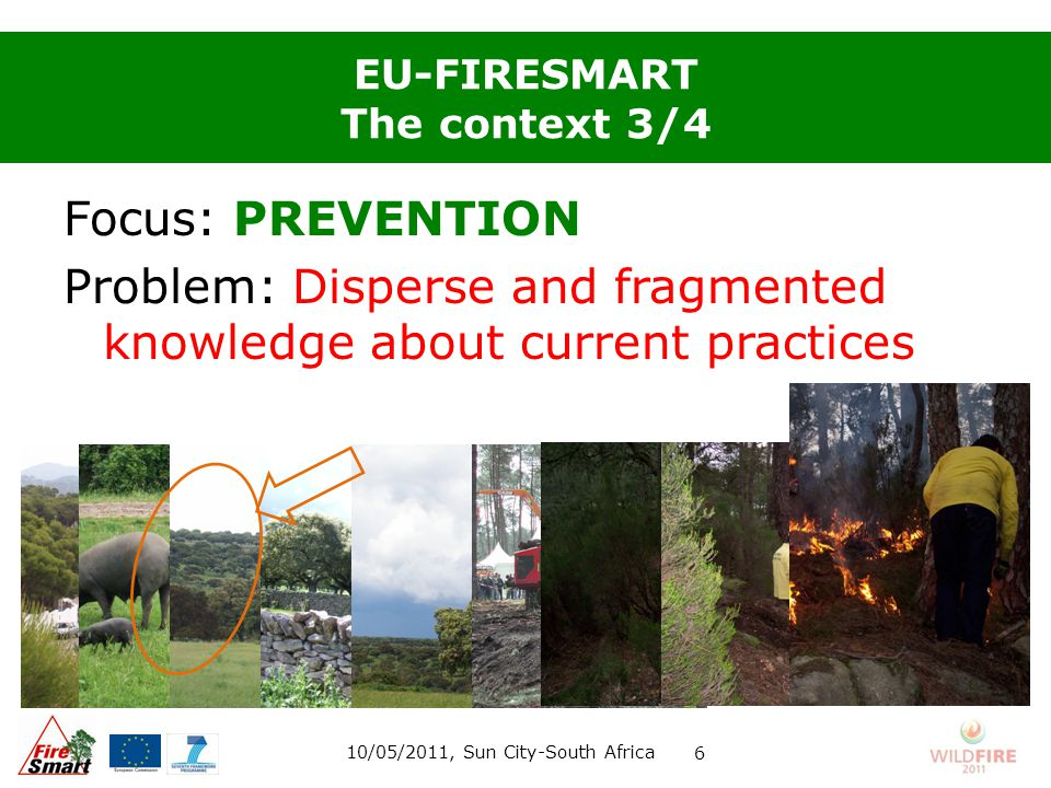 EU-FIRESMART The context 3/4 Focus: PREVENTION Problem: Disperse and fragmented knowledge about current practices 10/05/2011, Sun City-South Africa 6