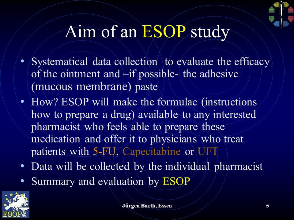 Jürgen Barth, Essen5 Aim of an ESOP study Systematical data collection to evaluate the efficacy of the ointment and –if possible- the adhesive ( mucous membrane) paste How.