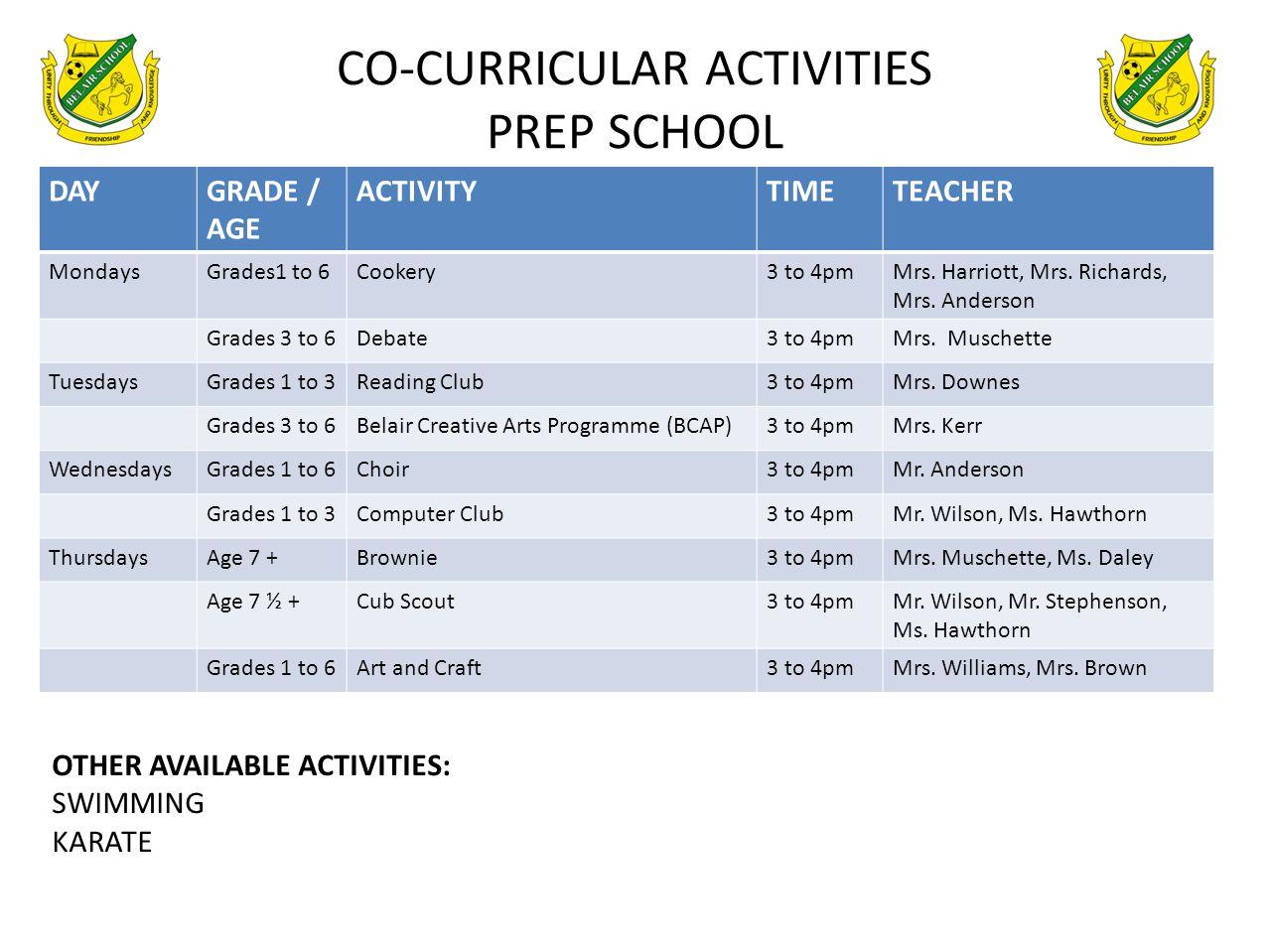 CO-CURRICULAR ACTIVITIES PREP SCHOOL DAYGRADE / AGE ACTIVITYTIMETEACHER MondaysGrades1 to 6Cookery3 to 4pmMrs. Harriott, Mrs. Richards, Mrs. Anderson