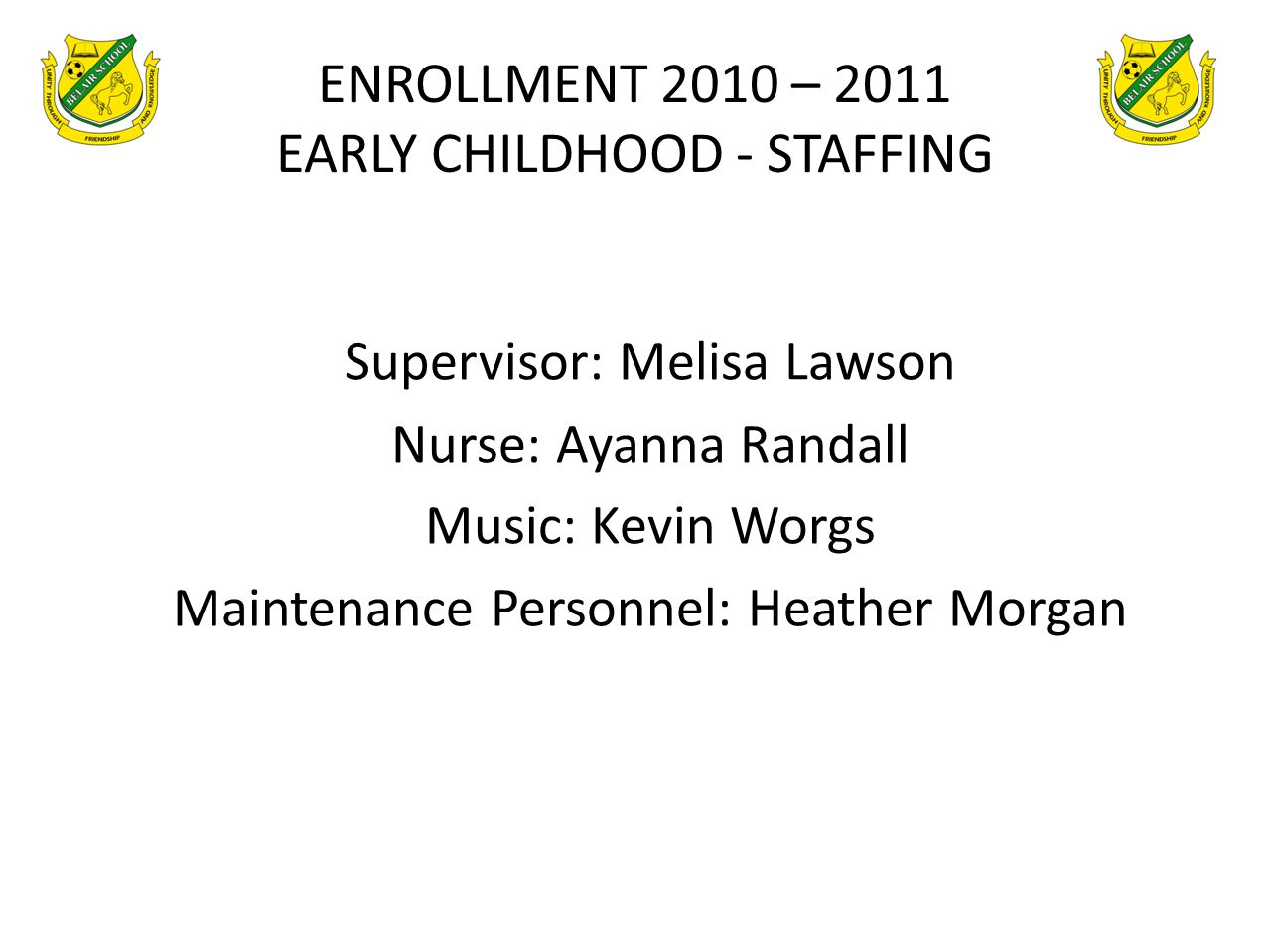 ENROLLMENT 2010 – 2011 EARLY CHILDHOOD - STAFFING Supervisor: Melisa Lawson Nurse: Ayanna Randall Music: Kevin Worgs Maintenance Personnel: Heather Mo