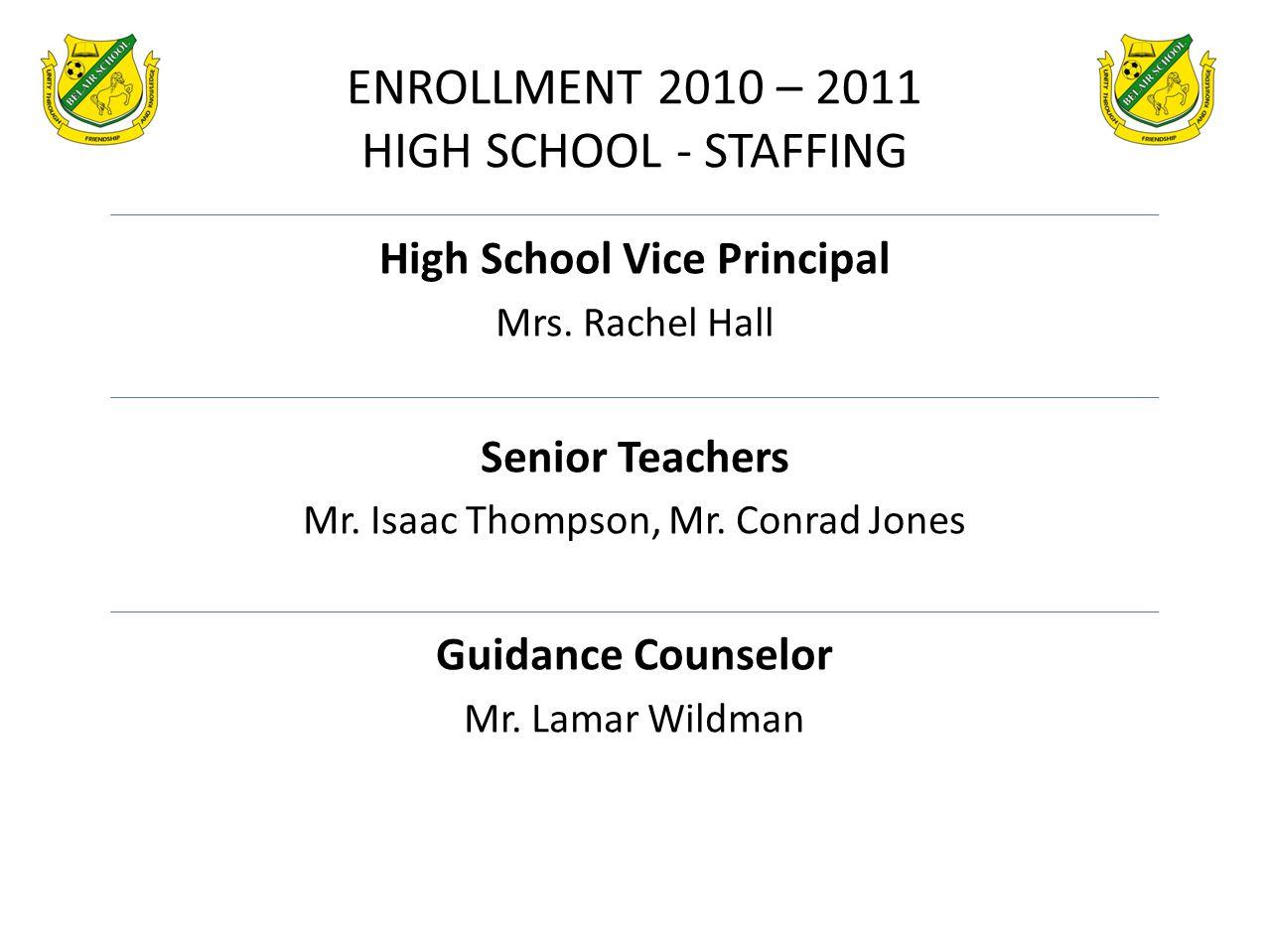 High School Vice Principal Mrs. Rachel Hall Senior Teachers Mr. Isaac Thompson, Mr. Conrad Jones Guidance Counselor Mr. Lamar Wildman ENROLLMENT 2010